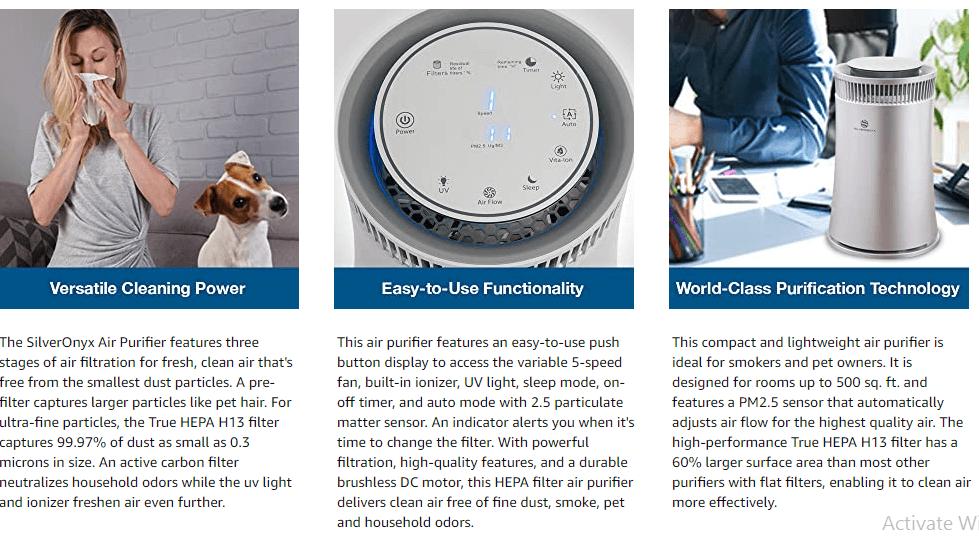 SilverOnyx – Best Air Purifier for Mildew Odor